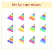 Cartoon Vector Illustration of Finding Two Exactly the Same Pictures Educational Activity for Preschool Children with. Pyramid Stock Image