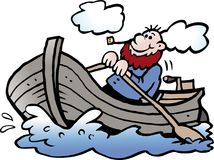 Cartoon Vector illustration of a fisherman in his rowboat Stock Photos