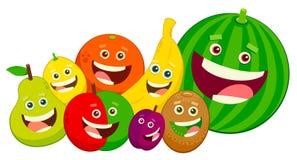 Cartoon fruit characters group vector illustration royalty free illustration