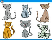 Funny cartoon cats characters set. Cartoon Vector Illustration of Funny Cats Pet Animal Characters Set Royalty Free Stock Image