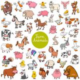 Cartoon farm animal characters big set vector illustration