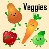 Cartoon Vector Illustration of Funny Vegetables Royalty Free Stock Photos