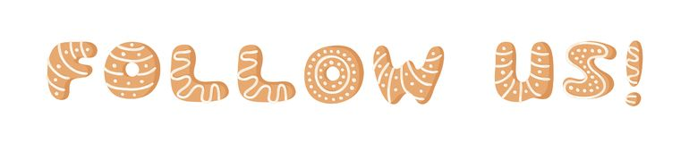Cartoon vector illustration Ginger bread Cookies word FOLLOW US! Hand drawn Christmas font. Actual Creative Holidays bake alphabet. Cartoon vector illustration stock illustration