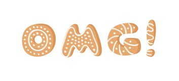 Cartoon vector illustration Ginger bread Cookies word OMG! Hand drawn Christmas font. Actual Creative Holidays bake alphabet. Cartoon vector illustration Ginger royalty free illustration