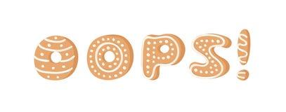 Cartoon vector illustration Ginger bread Cookies word OOPS! Hand drawn Christmas font. Actual Creative Holidays bake alphabet. Cartoon vector illustration Ginger royalty free illustration