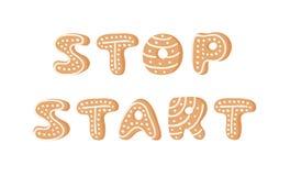 Cartoon vector illustration Ginger bread Cookies word STOP, START. Hand drawn Christmas font. Actual Creative Holidays bake. Cartoon vector illustration Ginger vector illustration