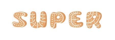 Cartoon vector illustration Ginger bread Cookies word SUPER. Hand drawn Christmas font. Actual Creative Holidays bake alphabet. Cartoon vector illustration royalty free illustration