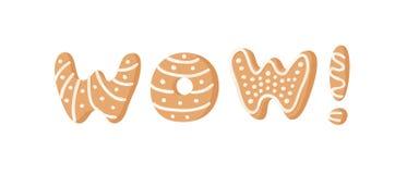 Cartoon vector illustration Ginger bread Cookies word WOW! Hand drawn Christmas font. Actual Creative Holidays bake alphabet. Cartoon vector illustration Ginger stock illustration