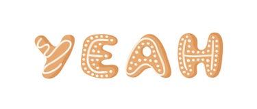 Cartoon vector illustration Ginger bread Cookies word YEAH. Hand drawn Christmas font. Actual Creative Holidays bake alphabet. Cartoon vector illustration Ginger royalty free illustration