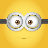 Cartoon Vector illustration of goggle with two eye on yellow color background Royalty Free Stock Photography