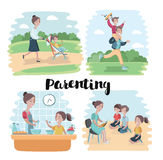Cartoon vector illustration of happy family sitting on the floor. White circle on the blue background Royalty Free Stock Photography