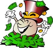 Cartoon Vector illustration of a Happy Golden Egg Mascot sitting in a big pile of Money Stock Photo