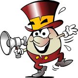 Cartoon Vector illustration of a Happy Golden Egg who speaks in a Megaphone Royalty Free Stock Image