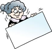 Cartoon Vector illustration of a Happy Grandmother holding a Sign Royalty Free Stock Photo
