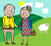 Happy old couple celebrate Easter. Cartoon vector illustration of happy old couple celebrate Easter Royalty Free Stock Image