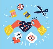 Hobby and crafts banner, people working on sewing, hands top view Royalty Free Stock Photography