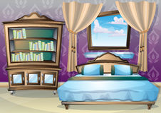 Cartoon vector illustration interior bedroom Stock Photos
