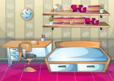 Cartoon vector illustration interior bedroom Royalty Free Stock Photo