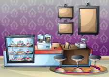 Cartoon vector illustration interior cafe room with separated layers. In 2d graphic Royalty Free Stock Images