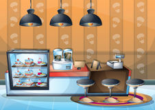 Cartoon vector illustration interior cafe room with separated layers. In 2d graphic Royalty Free Stock Image
