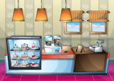 Cartoon vector illustration interior cafe room with separated layers. In 2d graphic Royalty Free Stock Photography