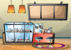 Cartoon vector illustration interior cafe room with separated layers. In 2d graphic Stock Image