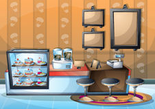 Cartoon vector illustration interior cafe room with separated layers. In 2d graphic Stock Photos