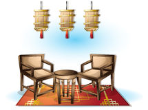 Cartoon vector illustration interior chinese room with separated layers. In 2d graphic Royalty Free Stock Image