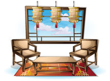 Cartoon vector illustration interior chinese room with separated layers Royalty Free Stock Photography