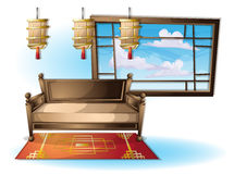Cartoon vector illustration interior chinese room with separated layers Stock Photos