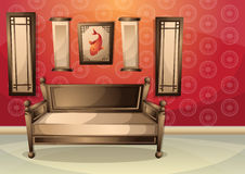 Cartoon vector illustration interior chinese room with separated layers Royalty Free Stock Image