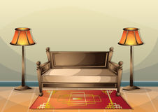 Cartoon vector illustration interior chinese room with separated layers Royalty Free Stock Photo