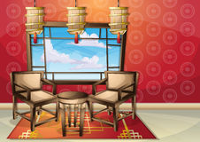 Cartoon vector illustration interior chinese room with separated layers Stock Image