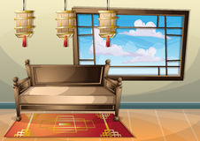 Cartoon vector illustration interior chinese room with separated layers. In 2d graphic Stock Photo