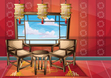 Cartoon vector illustration interior chinese room with separated layers Stock Photography