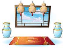 Cartoon vector illustration interior chinese room with separated layers Royalty Free Stock Photos