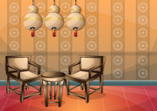 Cartoon vector illustration interior chinese room with separated layers. In 2d graphic Stock Photography
