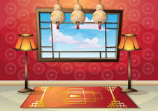 Cartoon vector illustration interior chinese room with separated layers Royalty Free Stock Images