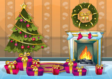 Cartoon vector illustration interior Christmas room with separated layers Royalty Free Stock Photos