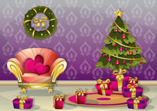 Cartoon vector illustration interior Christmas room with separated layers Royalty Free Stock Photography