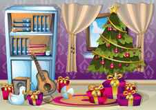 Cartoon vector illustration interior Christmas room with separated layers Stock Photos