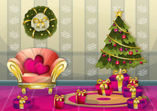 Cartoon vector illustration interior Christmas room with separated layers Stock Photo