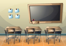 Cartoon vector illustration interior classroom with separated layers Royalty Free Stock Photos