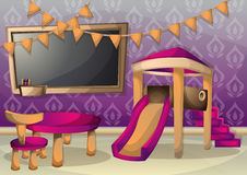 Cartoon vector illustration interior kid room with separated layers Royalty Free Stock Photo