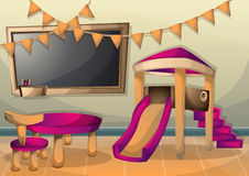 Cartoon vector illustration interior kid room with separated layers Royalty Free Stock Image