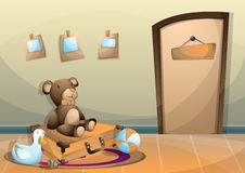 Cartoon vector illustration interior kid room with separated layers Stock Image