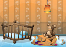 Cartoon vector illustration interior kid room with separated layers Stock Photos