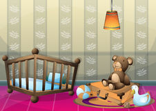 Cartoon vector illustration interior kid room with separated layers Stock Images
