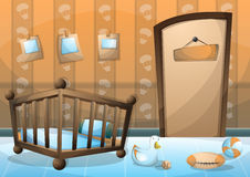 Cartoon vector illustration interior kid room with separated layers Royalty Free Stock Photos