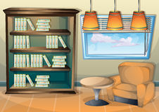Cartoon vector illustration interior library room with separated layers. In 2d graphic stock illustration